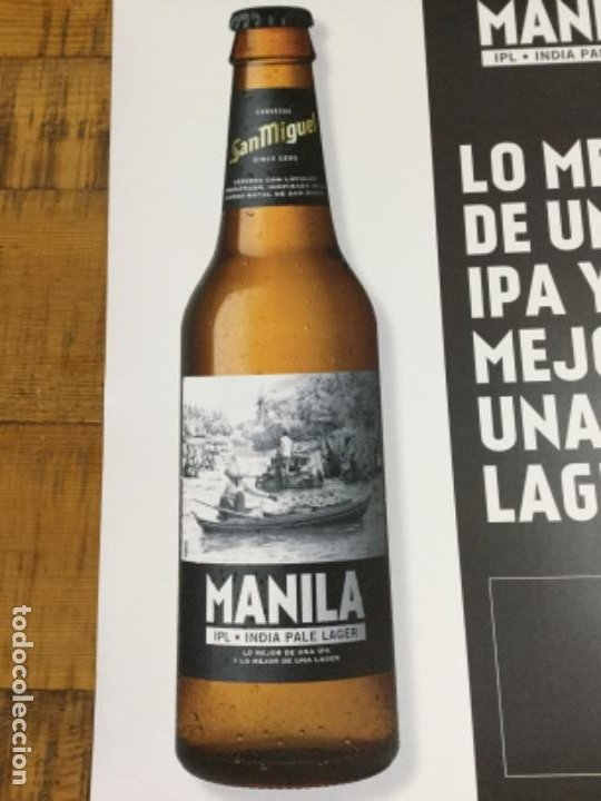 Coleccionismo de cervezas: SAN MIGUEL MANILA - CÁRTEL PÓSTER DE PAPEL - CERVEZA DE LLEIDA - Foto 2 - 243242515