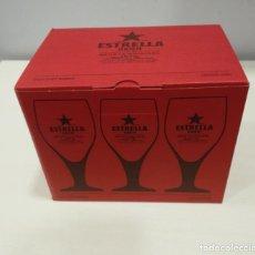Coleccionismo de cervezas: CAJA COPAS CERVEZA ESTRELLA DAMM 0,20CL. Lote 243925060