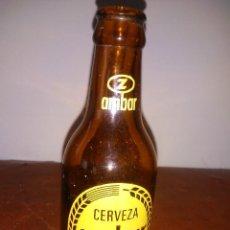 Coleccionismo de cervezas: BOTELLÍN AMBAR SERIGRAFIADO. MUY BIEN CONSERVADO.. Lote 244204475