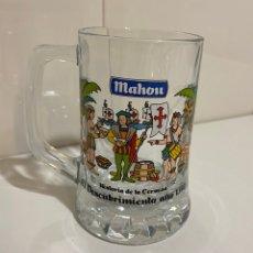 Coleccionismo de cervezas: JARRA CERVEZA MAHOU , HISTORIA DE LA CERVEZA. Lote 246739980