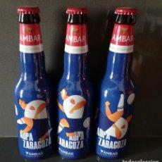 Coleccionismo de cervezas: LOTE 3 BOTELLAS DE CERVEZA - COLECCIÓN AMBAR LA ZARAGOZANA - REAL ZARAGOZA FÚTBOL. EDICIÓN LIMITADA. Lote 251703340