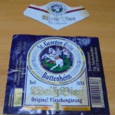 Coleccionismo de cervezas: ETIQUETA CERVEZA ST GEORGEN BRÄU BUTTENHEIM DELANTERA Y COLLARÍN.. Lote 255536790