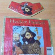 Coleccionismo de cervezas: ETIQUETA CERVEZA RUPPANER HECKER DUNKEL DELANTERA Y COLLARÍN.. Lote 257318160