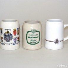 Coleccionismo de cervezas: 3 JARRAS DE CERVEZA CERÁMICAS DE 0,5 LITROS - DE COLECCIÓN - VER FOTOS DETALLE. Lote 259213375