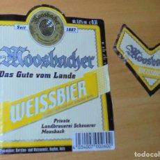 Coleccionismo de cervezas: ETIQUETA CERVEZA MOOSBACHER DAS GUTE VOM LANDE WEISSBIER DELANTERA Y COLLARÍN.. Lote 262112710