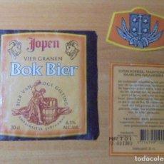 Coleccionismo de cervezas: ETIQUETA CERVEZA JOPEN BOK BIER DELANTERA, TRASERA Y COLLARÍN.. Lote 262113085