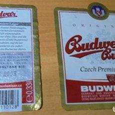 Coleccionismo de cervezas: ETIQUETA CERVEZA BUDWEISWER BUDVAR DELANTERA Y TRASERA.. Lote 262113545
