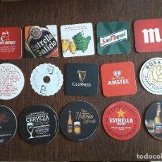 Coleccionismo de cervezas: LOTE DE 15 POSAVASOS DE CERVEZA, ESTRELLA GALICIA, DAMM, GUINNESS, CRUZCAMPO, ROSA BLANCA.... Lote 262164925