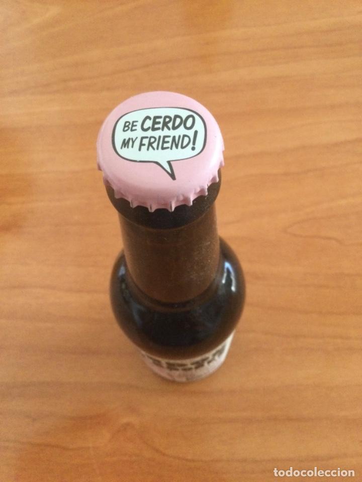 Coleccionismo de cervezas: Botella de Cerveza Cerdos Voladores 330 cl, Llena y con su Chapa Corona - Foto 4 - 262589790