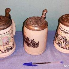 Coleccionismo de cervezas: LOTE DE JARRAS DE CERVEZA DE CERAMICA IDEAL COLECCIONISTAS. Lote 263544420