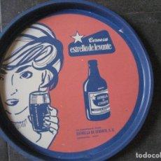 Coleccionismo de cervezas: BANDEJA METALICA CERVEZA ESTRELLA LEVANTE - ESPINARDO MUCIA . AZUL 35/ 3 CM. Lote 266496763