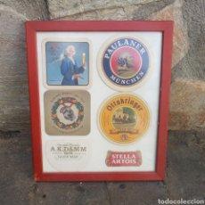 Coleccionismo de cervezas: MARCO CON 6 POSAVASOS DE CERVEZA. Lote 266903919