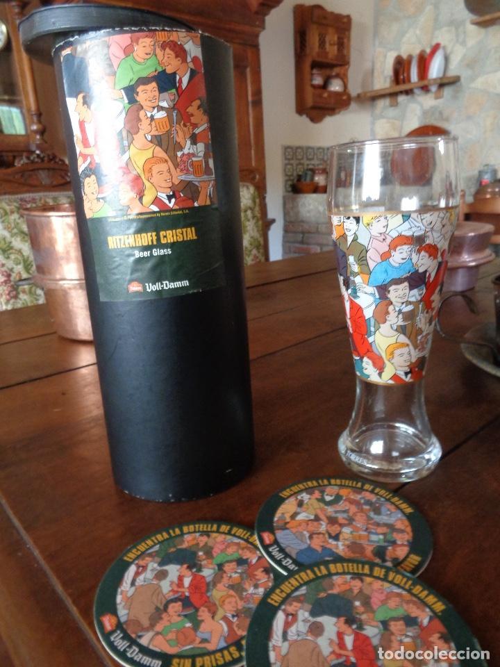 Coleccionismo de cervezas: kit cerveza Voll Damm, posavasos, jarra, y caja - Foto 4 - 268727279