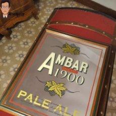 Coleccionismo de cervezas: CUADRO ESPEJO PUBLICIDAD ORIGINAL CERVEZA AMBAR (PALE ALE) LA ZARAGOZANA 1900 - ENMARCADO. Lote 270557143