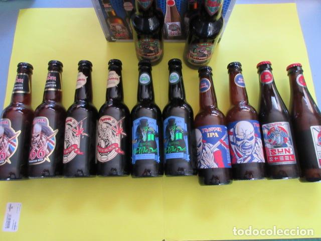 Coleccionismo de cervezas: CAJA COLECCION 12 BOTELLAS 33 CC. IRON MAIDEN EDICION LIMITADA METALLICA ACDC ROCK TROOPER - Foto 2 - 270944358