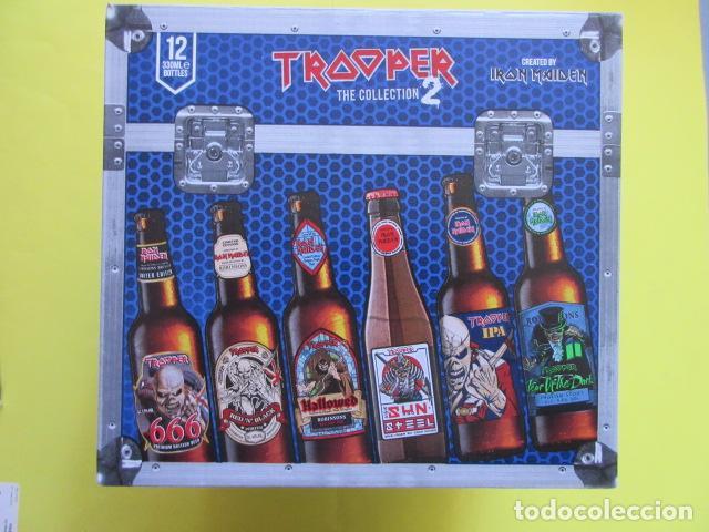 CAJA COLECCION 12 BOTELLAS 33 CC. IRON MAIDEN EDICION LIMITADA METALLICA ACDC ROCK TROOPER (Coleccionismo - Botellas y Bebidas - Cerveza )