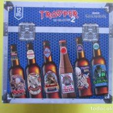 Coleccionismo de cervezas: CAJA COLECCION 12 BOTELLAS 33 CC. IRON MAIDEN EDICION LIMITADA METALLICA ACDC ROCK TROOPER. Lote 270944358