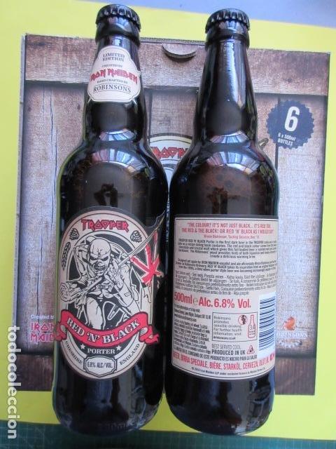 Coleccionismo de cervezas: CAJA COLECCION 6 BOTELLAS 500 CC. IRON MAIDEN EDICION LIMITADA METALLICA ACDC ROCK TROOPER - Foto 3 - 270944683