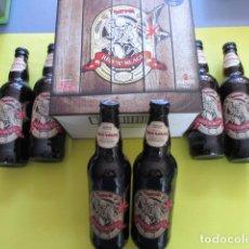 Coleccionismo de cervezas: CAJA COLECCION 6 BOTELLAS 500 CC. IRON MAIDEN EDICION LIMITADA METALLICA ACDC ROCK TROOPER. Lote 270944683