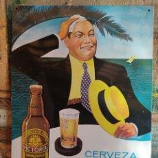 Coleccionismo de cervezas: CARTEL PLACA CHAPA ESMALTADA CERVEZA VICTORIA FRANQUELO S.A. PUBLICIDAD RELIEVE ORIGINAL AÑOS 60. Lote 270949078