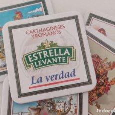 Coleccionismo de cervezas: CAJA CON 8 POSAVASOS DE CERVEZAS ESTRELLA DE LEVANTE CARTHAGINESES Y ROMANOS. DIARIO LA VERDAD. Lote 276691103