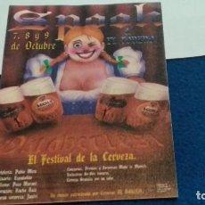 Coleccionismo de cervezas: FLYER CERVEZA AGUILA ( SPOOK & EL TORERO - EL FESTIVAL DE LA CERVEZA ) 7,8 Y 9 DE OCTUBRE DE LOS 90. Lote 276973223