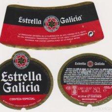 Coleccionismo de cervezas: ETIQUETA CERVEZA ESTRELLA GALICIA 25CL BEER LABELS BIER BIRRA. Lote 278540613