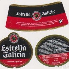 Coleccionismo de cervezas: ETIQUETA CERVEZA ESTRELLA GALICIA 25CL BEER LABELS BIER BIRRA. Lote 278540883