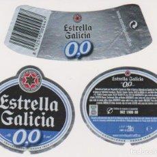 Coleccionismo de cervezas: ETIQUETA CERVEZA ESTRELLA GALICIA 0,0 20CL BEER LABELS BIER BIRRA. Lote 278542333