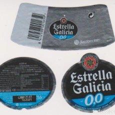 Coleccionismo de cervezas: ETIQUETA CERVEZA ESTRELLA GALICIA 0,0 XACOBEO 2021 25CL BEER LABELS BIER BIRRA. Lote 278569698