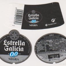 Coleccionismo de cervezas: ETIQUETA CERVEZA ESTRELLA GALICIA 0,0 NEGRA XACOBEO 2021 25CL BEER LABELS BIER BIRRA. Lote 278569778