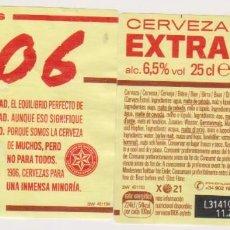 Coleccionismo de cervezas: ETIQUETA CERVEZA ESTRELLA GALICIA EXTRA 1906 X21 25CL BEER LABELS BIER BIRRA. Lote 278572558