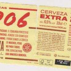 Coleccionismo de cervezas: ETIQUETA CERVEZA ESTRELLA GALICIA EXTRA 1906 XACOBEO 21 33CL BEER LABELS BIER BIRRA MODELO 3. Lote 278572903