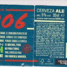 Coleccionismo de cervezas: ETIQUETA CERVEZA ESTRELLA GALICIA IRISH RED ALE 1906 XACOBEO 21 33CL BEER LABELS BIER BIRRA. Lote 278573133
