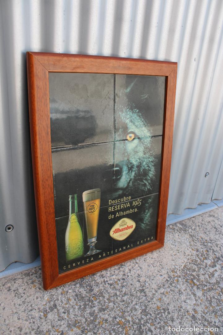 Coleccionismo de cervezas: Cuadro cartel cerveza ALHAMBRA RESERVA 1925 de ceramica de azulejos. - Foto 2 - 278672868