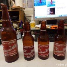 Coleccionismo de cervezas: 4 BOTELLAS DIFERENTES SERIGRAFIADA CERVEZAS DAMM. Lote 286834538