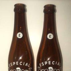 Coleccionismo de cervezas: PAREJA BOTELLAS CERVEZA MORITZ BARCELONA SERIGRAFIADAS CON TALAÑOS DE LETRAS DIFERENTES VARIANTES. Lote 287095018