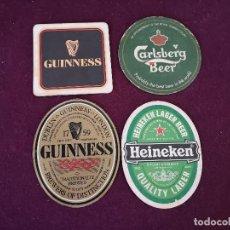 Coleccionismo de cervezas: LOTE DE 4 POSAVASOS CON PUBLICIDAD DE CERVEZAS, DE CARTÓN, CARLSBERG, HEINEKEN Y GUINNESS. Lote 287240668