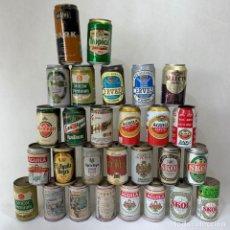 Coleccionismo de cervezas: LOTE 28 LATAS CERVEZAS ESPAÑOLAS - SAN MIGUEL / SKOL / AGUILA / HENNINGER / TROPICAL. Lote 287738498
