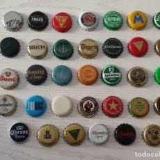 Coleccionismo de cervezas: LOTE DE 34 CHAPAS USADAS DE CORONA DIFERENTES DE CERVEZA · PESO DEL ENVÍO: MÁS DE 100 GRAMOS. Lote 288721128