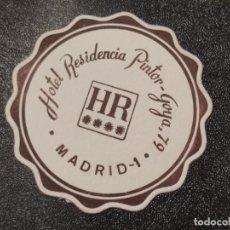 Coleccionismo de cervezas: POSAVASOS HOTEL RESIDENCIA PINTOR GOYA. Lote 289361848