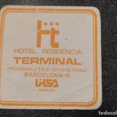 Coleccionismo de cervezas: POSAVASOS HOTEL RESIDENCIA TERMINAL. BARCELONA. Lote 289362603