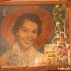 Coleccionismo de cervezas: CONJUNTO TRES LAMINAS ORIGINALES PUBLICIDAD CERVEZA DAMM ENMARCADAS AÑOS 1950 1960. Lote 289362863