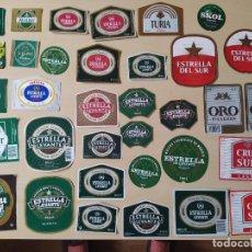 Coleccionismo de cervezas: LOTE 34 DE ETIQUETAS DE CERVEZA : ESTRELLA LEVANTE, CRUZ DEL SUR,.... NUEVAS. Lote 293892068