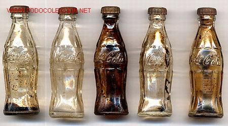 5 BOTELLITAS DE COCA COLA AÑOS 50 , USA , ORIGINALES , RB (Coleccionismo - Botellas y Bebidas - Coca-Cola y Pepsi)