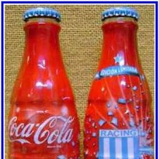Coleccionismo de Coca-Cola y Pepsi: BOTELLA COCA COLA CONMEMORATIVA 40 AÑOS RACING CLUB DE ARGENTINA. Lote 45008290