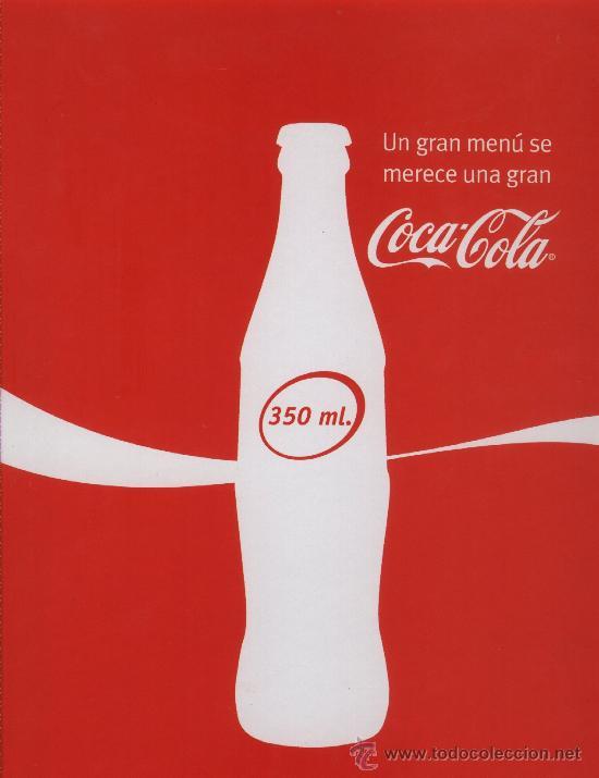 CARPETA PORTA MENÚS COCA COLA. COCA-COLA (Coleccionismo - Botellas y Bebidas - Coca-Cola y Pepsi)