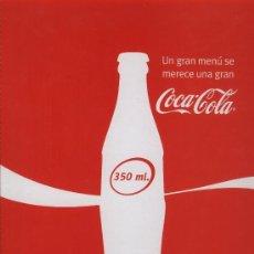 Coleccionismo de Coca-Cola y Pepsi: CARPETA PORTA MENÚS COCA COLA. COCA-COLA. Lote 22224443