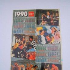 Coleccionismo de Coca-Cola y Pepsi: ADHESIVO (PEGATINA) DE COCA COLA CON CALENDARIO AÑO 1990. Lote 21077883