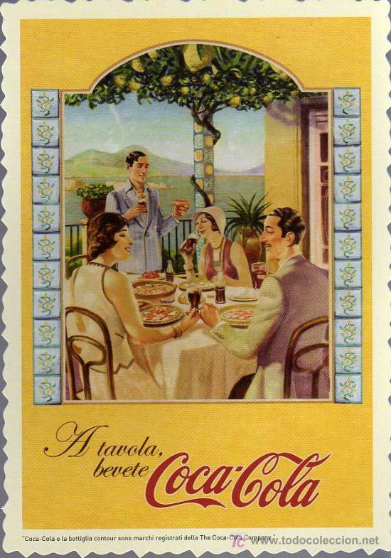 POSTAL PUBLICITARIA DE COCA COLA EN ITALIANO (Coleccionismo - Botellas y Bebidas - Coca-Cola y Pepsi)